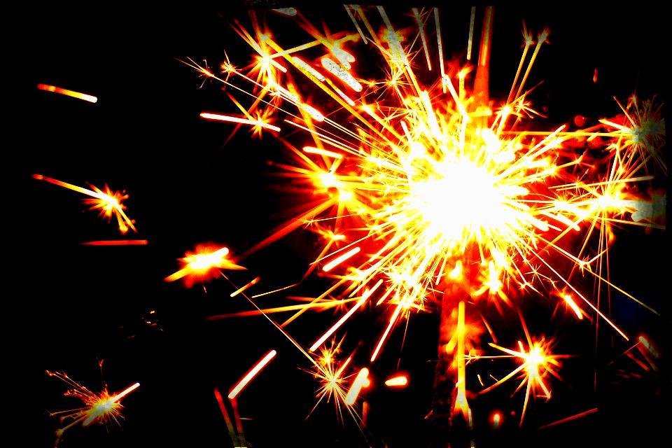 sparkler throwing off sparks