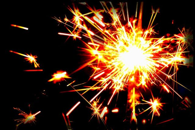 sparkler throwing off sparks