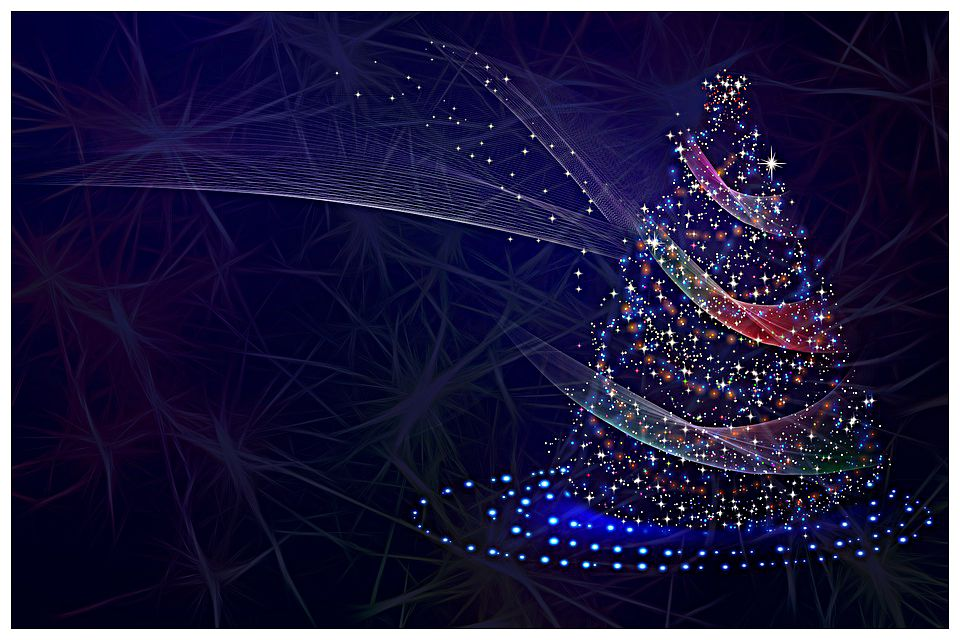 christmas tree with synapses in the background