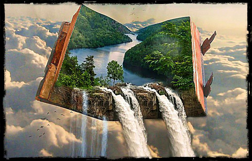 open book with waterfall pouring out